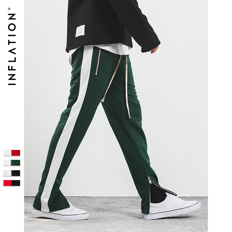 INFLATION 2018 New Mens Sportswear Pants Side Stripe Zipper Men Campus Style Sweatpants Elastic Waist Sweatpants Unisex 345W17