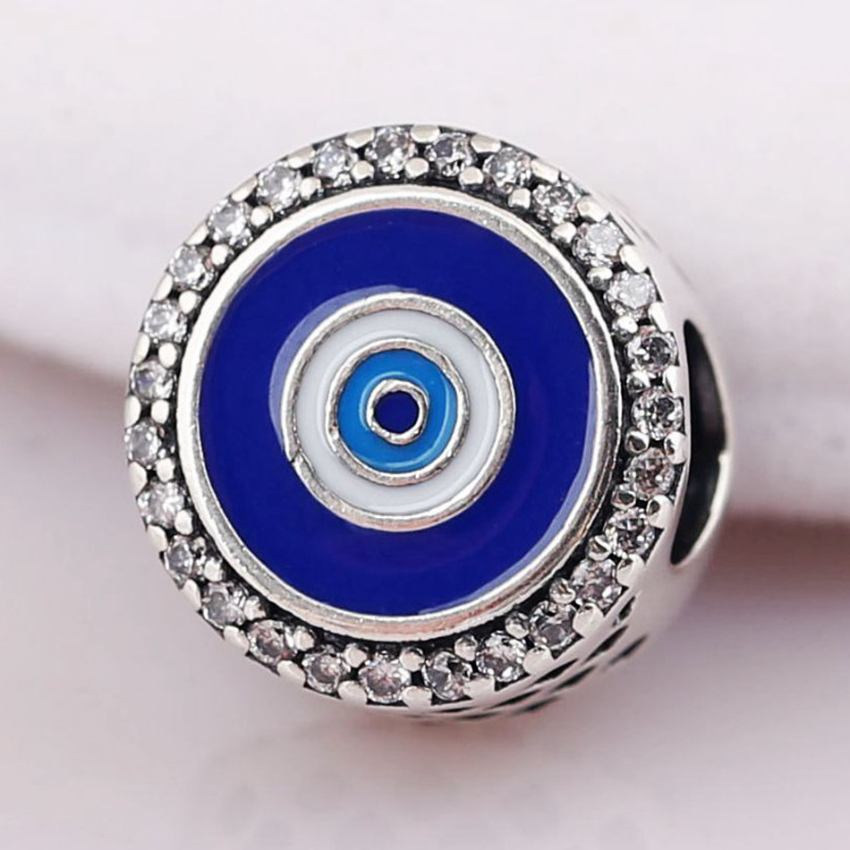 0d6d5a94e Authentic 925 Sterling Silver Mixed Enamel Watchful Eye With Crystal Charm  Fit Pandora Bracelet Bangle DIY Jewelry-in Beads from Jewelry & Accessories  on ...