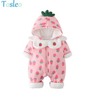Baby Girl Rompers Funny Infant Costume Strawberry Print Cotton Pad Toddler Outfits with Mouth Towel Pink and White 0 2Y
