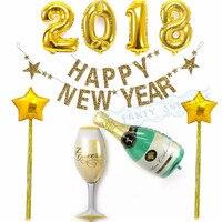 ทั้งชุด2018สวัสดีปีใหม่พรรคตกแต่งG Litterแบนเนอร์ฟอยล์2018บอลลูนขวดแว่นตาบอลลูนC Hanpagneอุปกรณ์การ