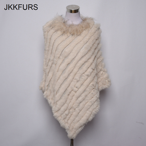 Image 5 - 2019 Womens Poncho Real Rabbit Fur Knitted Shawl Raccoon Fur Collar Top Quality Large Cape Fashion Style S1729