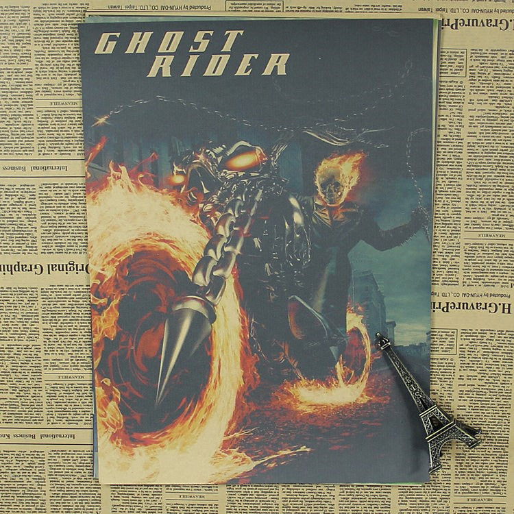 Ghost Rider retro soul chariot motorcycle Movie Poster Nicolas Cage Bar Cafe image