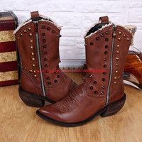Итальянский Для мужчин сапоги до колена чёрный; коричневый с высоким берцем работы шипованных ковбойские ботинки острый носок Заклёпки мот