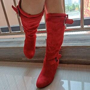 Image 3 - جديد النساء عالية الكعب الخريف منتصف العجل الأحذية الإناث البريدي مشبك منصة مثير سبايك الكعوب حجم كبير أحذية السيدات الموضة