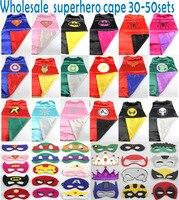 Superhero Capes 50pcs Superman Batman Spiderman Elsa Flash Supergirl Batgirl Robin Kids Capes Children Costume Bulk