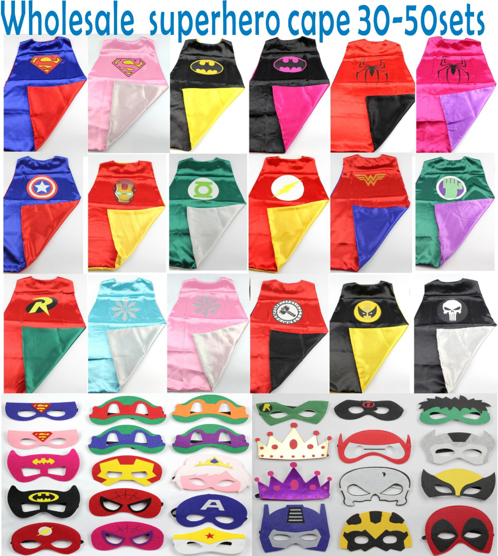 Superhero Capes30-50sets Superman, Batman, Spiderman, elsa, Flash, Supergirl, Batgirl, Robin, kids capes,children costume bulk