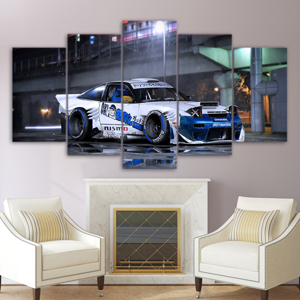 Modular Canvas Home Decor Frame Wall Art Pictures 5 Pieces Nissan Sports Car Painting For Living Room HD Printed Poster PENGDA