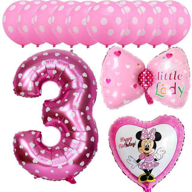 13pcs Pink Blue Mickey Minnie Baby 3 Years Old Birthday Party Balloons Foil Helium Latex Globos