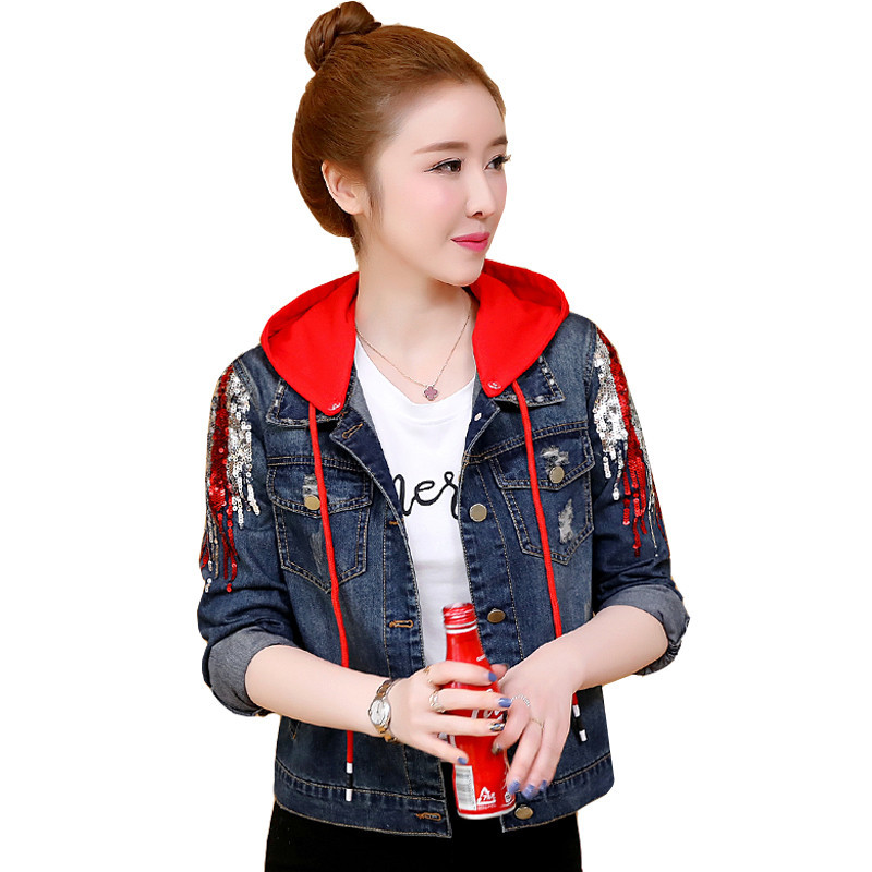 2019 New Women's Denim   Jackets   Vintage Casual Single Breasted Detachable Hooded Coat Female Jeans   Basic     Jackets   Outerwear R74