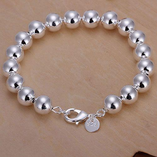 H136-2 925 անվճար առաքում արծաթե ձեռնաշղթա, 925 անվճար առաքում արծաթյա նորաձևության զարդեր 10 մմ Hollow Beads ձեռնաշղթա / awzajoga atnajkua