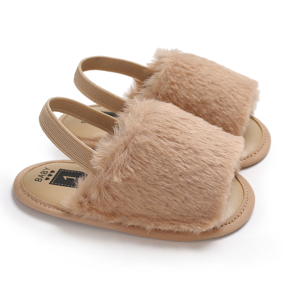 Fashion New Colors Faux Fur Baby Girls Slippers Soft Bottom Cute Infant Baby Sandals Shoes 0-18 M
