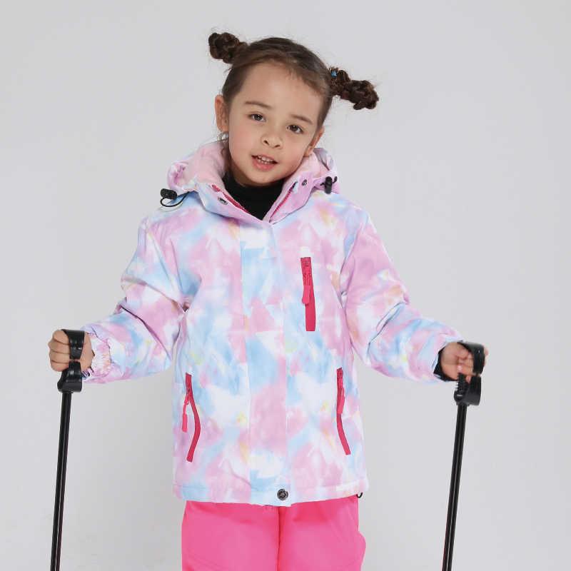 Kayak ceket çocuk su geçirmez rüzgar geçirmez giyim çocuklar kayak pantolonu erkek kız-30 derece kış sıcak snowboard açık kayak kıyafeti