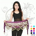 Belly Dance Skirt Costumes New Women Belly Belt Three Layer Wave 280 Coin Genuine Chiffon Scarfs Skirt Hip Wrap Waist Chain