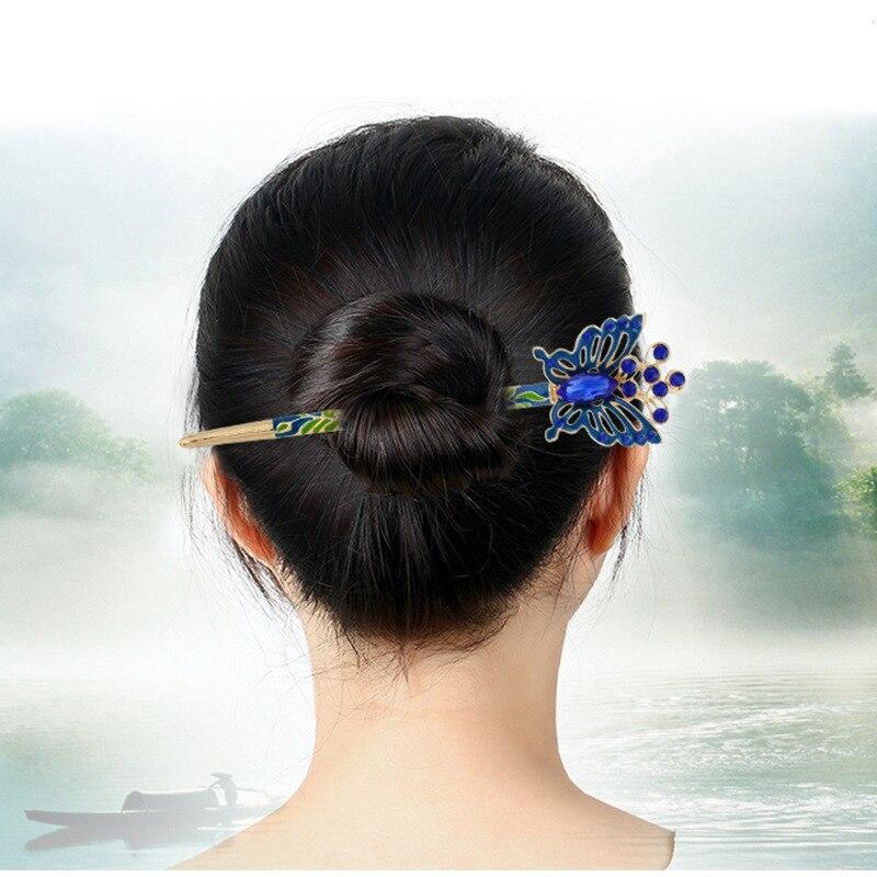 Women Erfly Design With Rhinestones Hairpin Zinc Alloy Chopsticks Cloisonne Hair Sticks Headwear Accessories