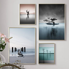 Beach Lake Tree Island Landscape Wall Art Canvas Painting Nordic Posters And Prints Abstract Wall Pictures For Living Room Decor(China)
