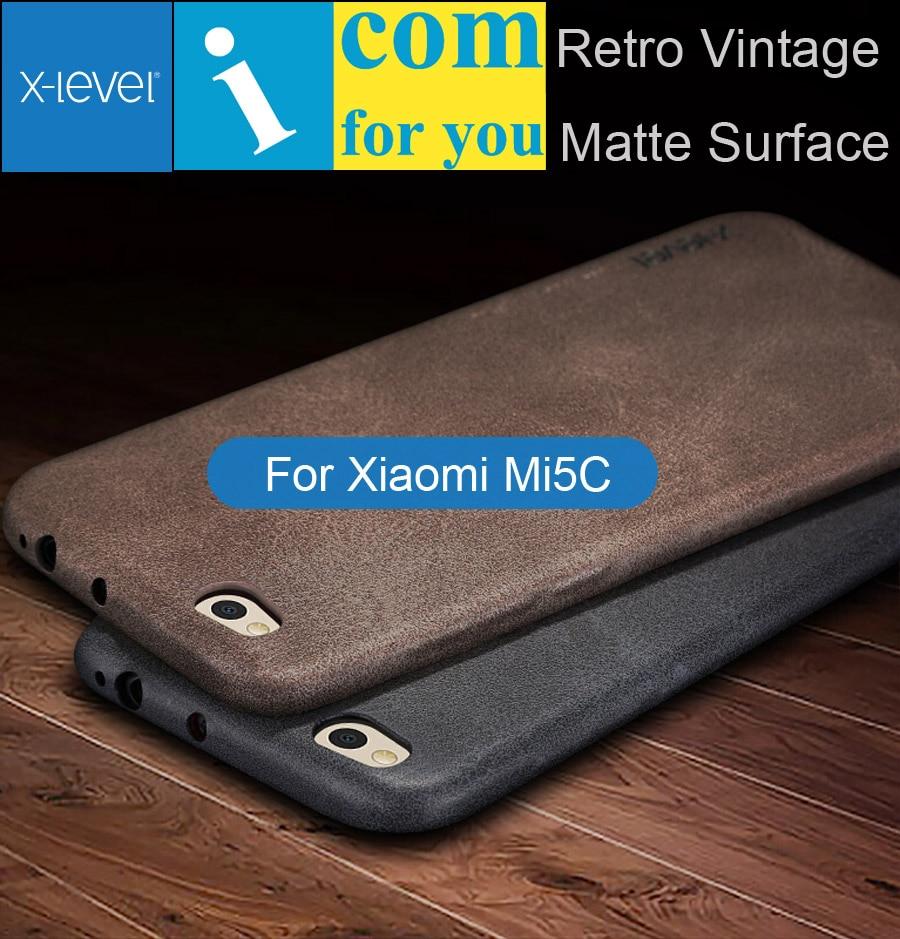 X-Уровень Чехол Для Xiaomi Ми Mi5C 5C Ретро Х Уровень Кожа Назад Защитный Shell