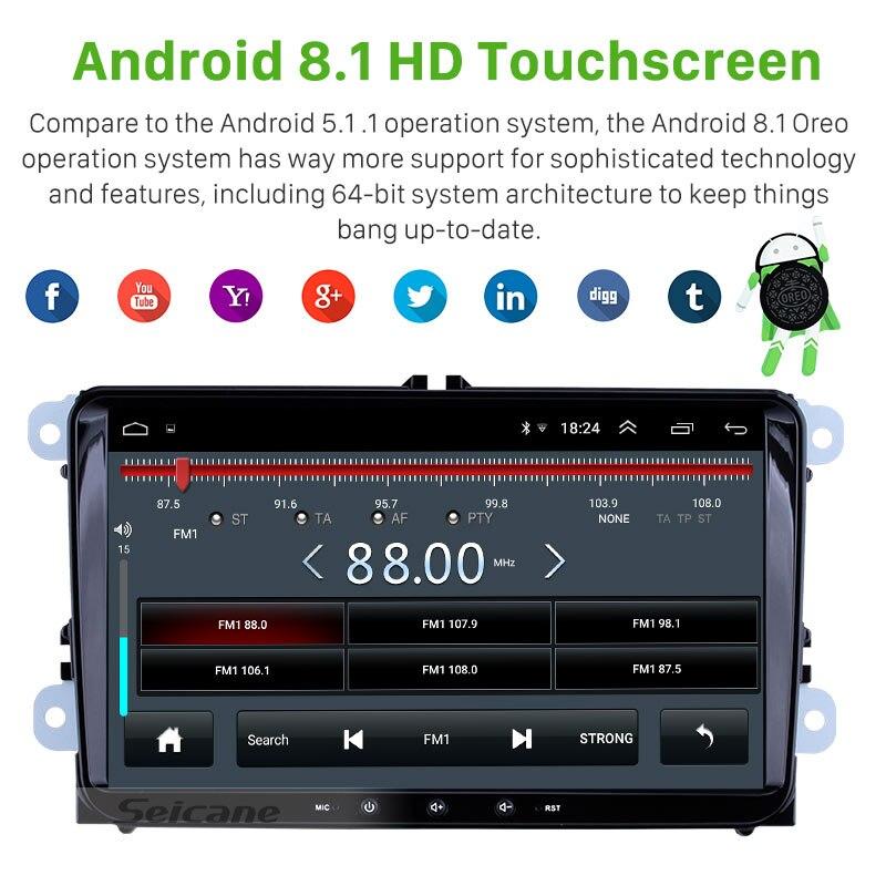 Seicane Android 8.1 2Din Auto Multimedia Speler Voor Vw/Volkswagen/Golf/Polo/Tiguan/Passat/ b7/B6/Seat/Leon/Skoda/Octavia Radio Gps - 2