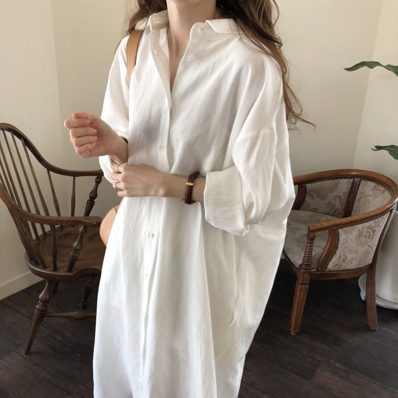 Blue Long Sleeve Long Shirt Dress Spring Casual Patchwork White cotton Dresses Collar Buttons Loose Dresses Robe Femme Vestido 16