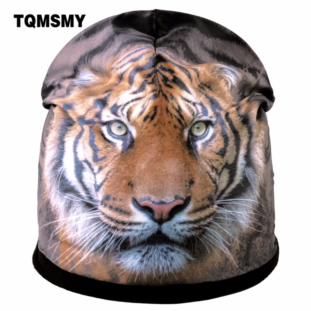 TQMSMY 3D Printing Tiger Winter Hat For Men   Skullies     Beanies   Women Knitting Hat Ladies Warm Cap Women's Velvet   Skullies   TMDH63