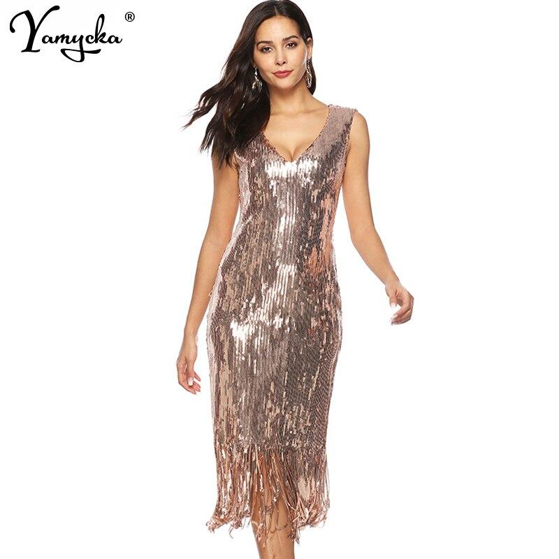 e3a433eb917bb94 Сексуальное роскошное шикарное летнее платье с блестками женское вечернее  платье для ночного клуба Золотое облегающее винтажное