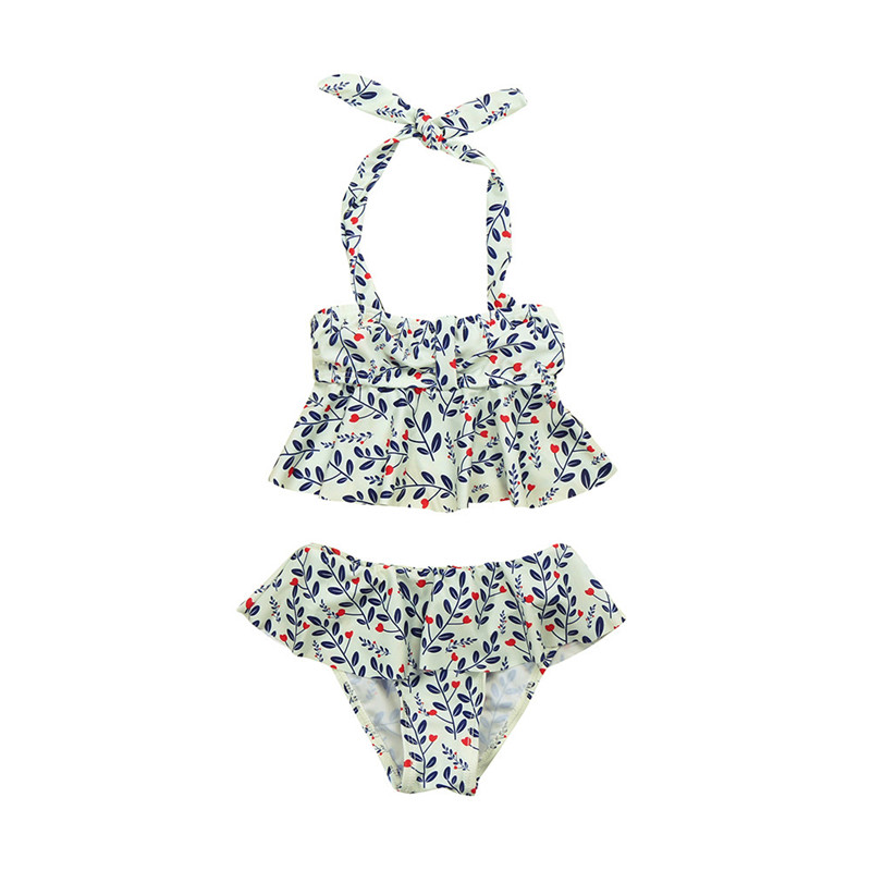 %2Pcs Infant Kids Baby Girls Swimwear Straps Swimsuit Bathing Bikini Set Outfits Baby Girl Swimwear Toddler Swimwea