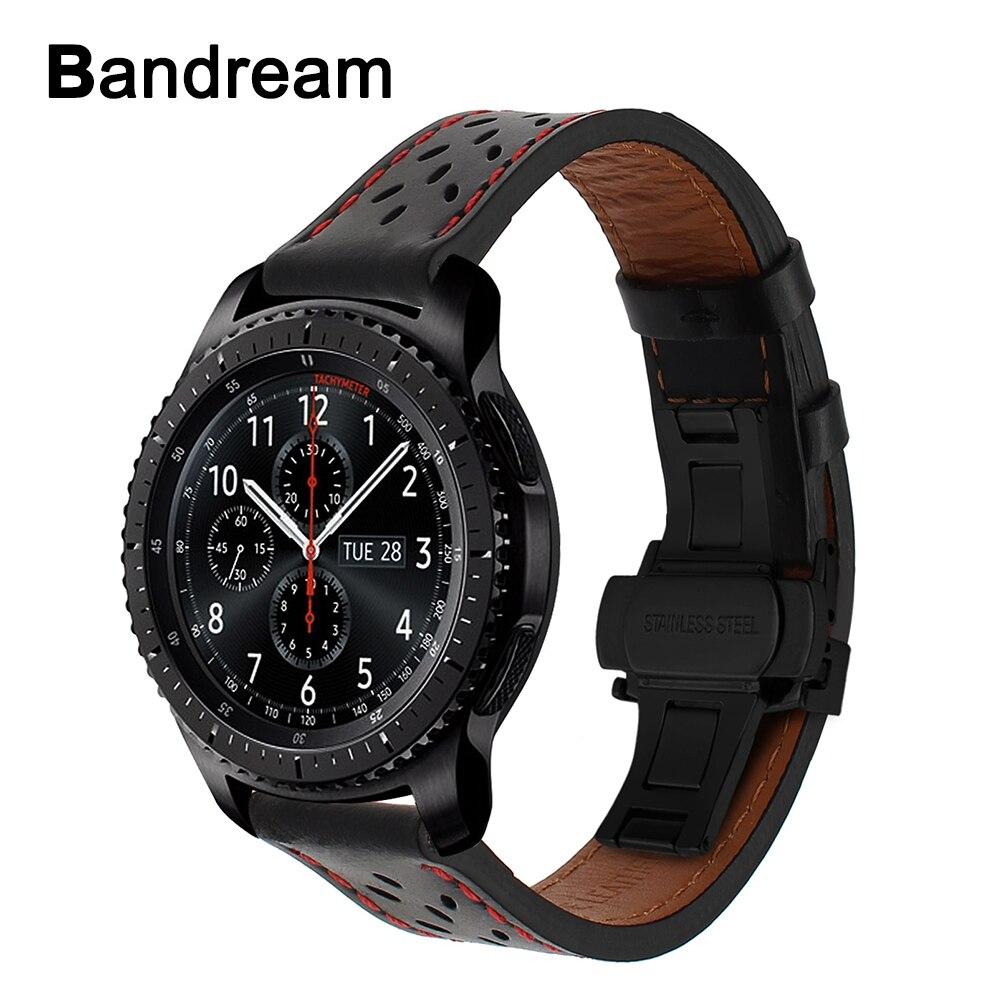 Italien Genuine Kalb Leder Armband für Samsung Getriebe S3 Galaxy Uhr 46mm Quick Release Band Stahl Schmetterling Schnalle Handgelenk strap