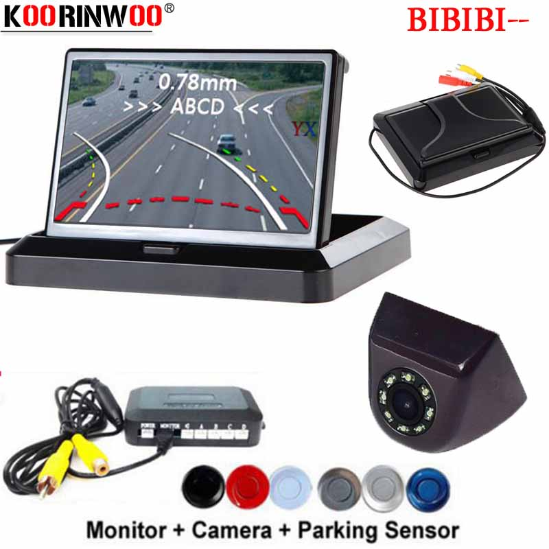 Koorinwoo Dynamic Trajectory LCD 4 3 Folding Monitor Car Parking Sensor Rearview Camera Buzzer Radars Show