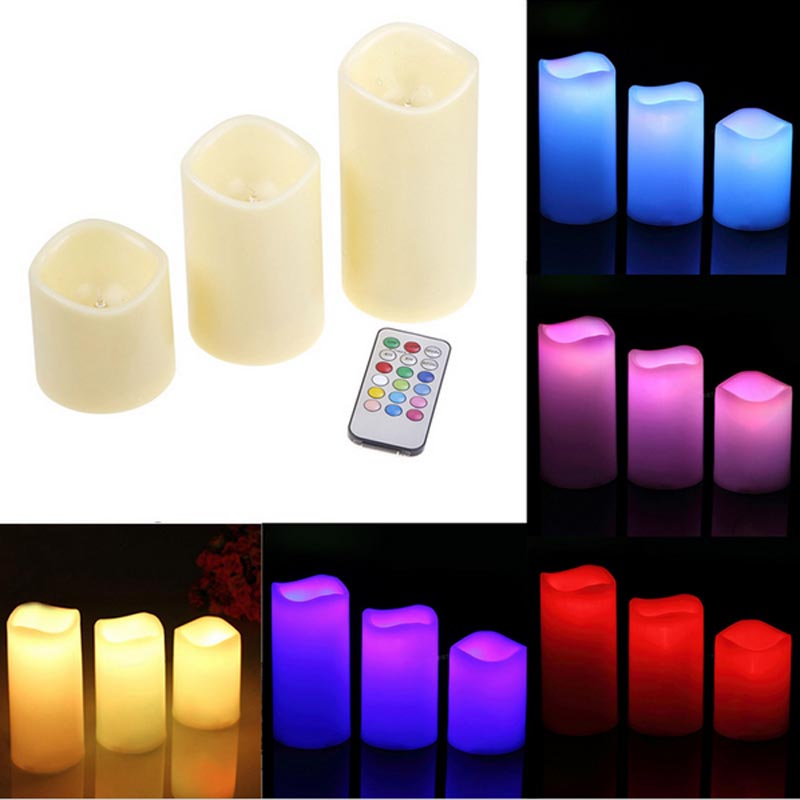 romantic 3pcs set remote control led color changing candle operated led candles bougie light for. Black Bedroom Furniture Sets. Home Design Ideas