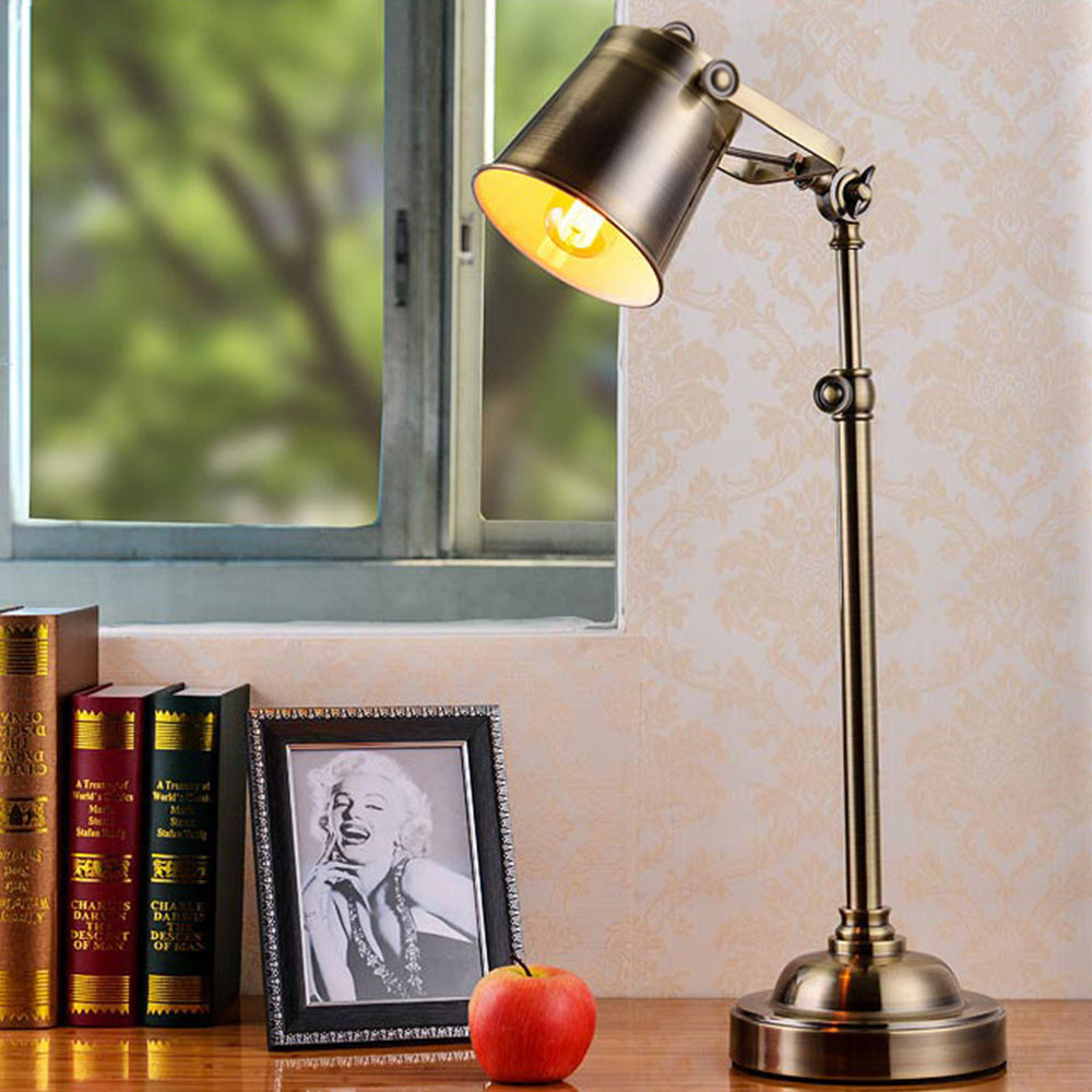 Colorful table lamps - Vintage Lampshade Adjustable Table Lamps Lights Retro Brief Iron Plated Durable Desk Light Classic Copper Colored