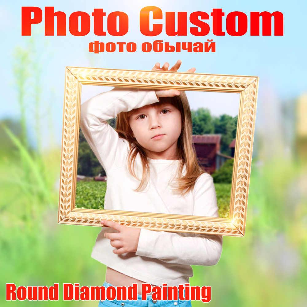 Huacan Photo Personalizzata di Diamante Del Ricamo Pieno di Cristallo Rotondo Disegni E Schemi Per Puntocroce Diamante Mosaico Kit Regalo Di Compleanno