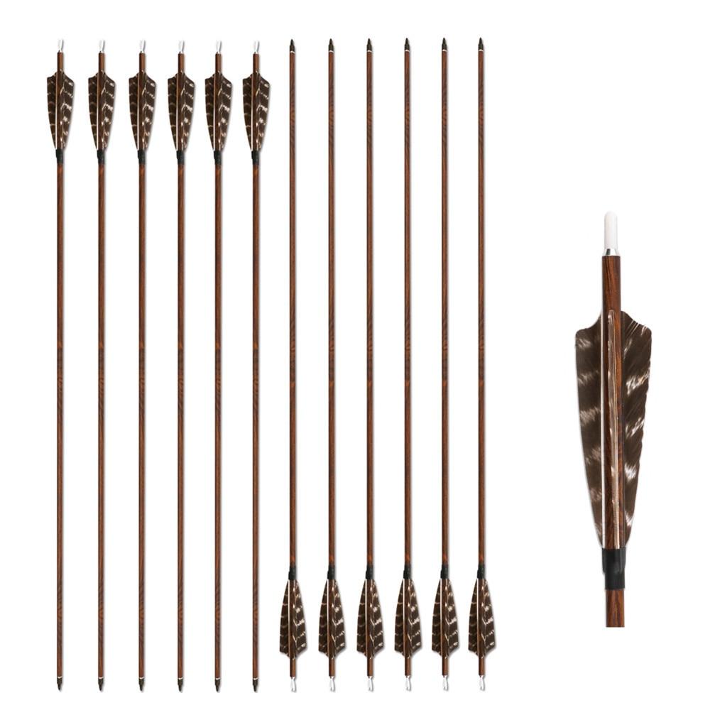 Boogschieten Houtkorrelige Carbon Pijlen 12 Pak Spine 400/500/600 Met - Jacht - Foto 2