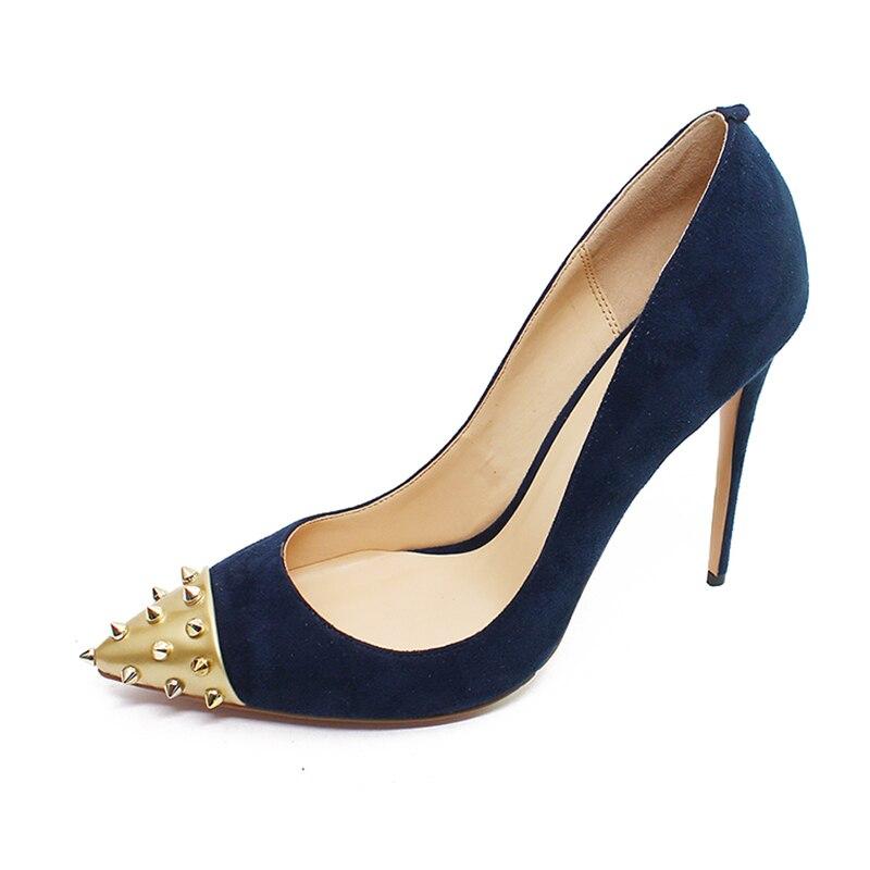 Hauts blue Pointu army Sexy Stiletto Bleu brown Femmes Noir Or Nouvelle Pompes Parti 46 Cm 2019 Green Rxemzg Rivets Du Talons Bout Chaussures Dames rouge 12 Troupeau Taille Mode qPS6nwzF