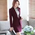 Xale Colarinho escritório de negócios formal ternos saia vermelha para as mulheres Desgaste do Trabalho do sexo feminino estilo de moda roupas de carreira OL duas peças conjunto