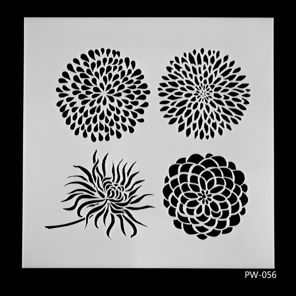 Buy diy craft 4 flowers layering stencils for Wall spray painting designs