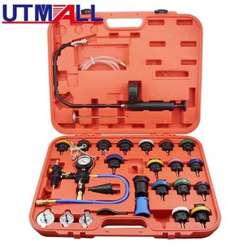 цена на 27pcs Universal Radiator Pressure Tester & Vacuum Type Coolling System Kit Collant Replace Tool Coolant Purge/Refill Adapter