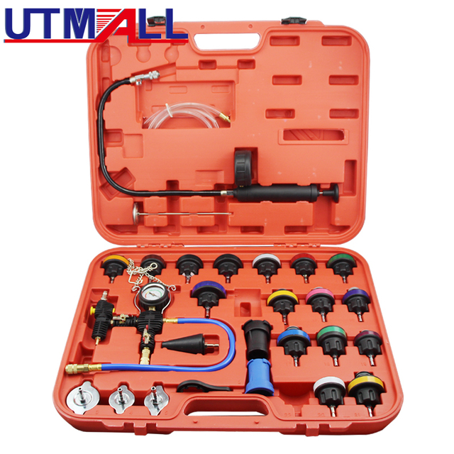 27pcs Universal Radiator Pressure Tester & Vacuum Type Coolling System Kit Collant Replace Tool Coolant Purge/Refill Adapter