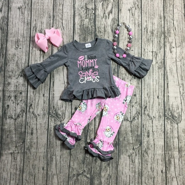 d793c99d86d4d Christmas Fall Winter baby girls outfits I saw mommy kissing Santa claus  grey children clothes ruffle boutique match accessories