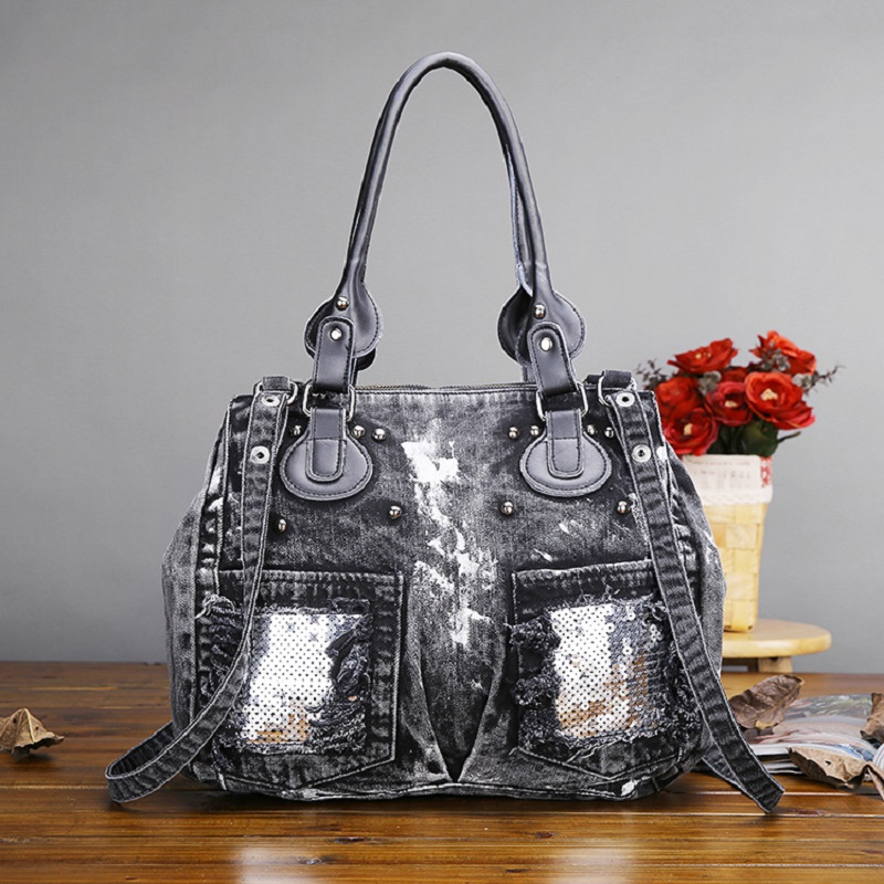 New Vintage Fashion Elegant Zipper Shine Sequins Denim Jeans Women HandBags Evening Bags Totes Female Shoulder Crossbody Bag luxury good quality new fashion women zipper jumpsuit slim fit skinny jeans rompers pocket denim jumpsuits size sexy girl casual