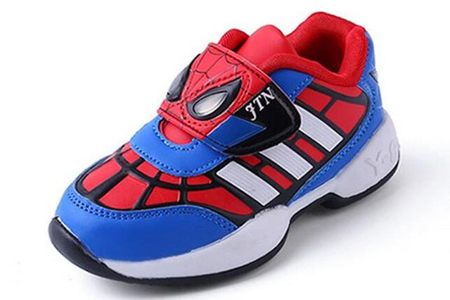 Children Spiderman sneakers boys girls PU running shoes kids high quality sport shoes size 26-36