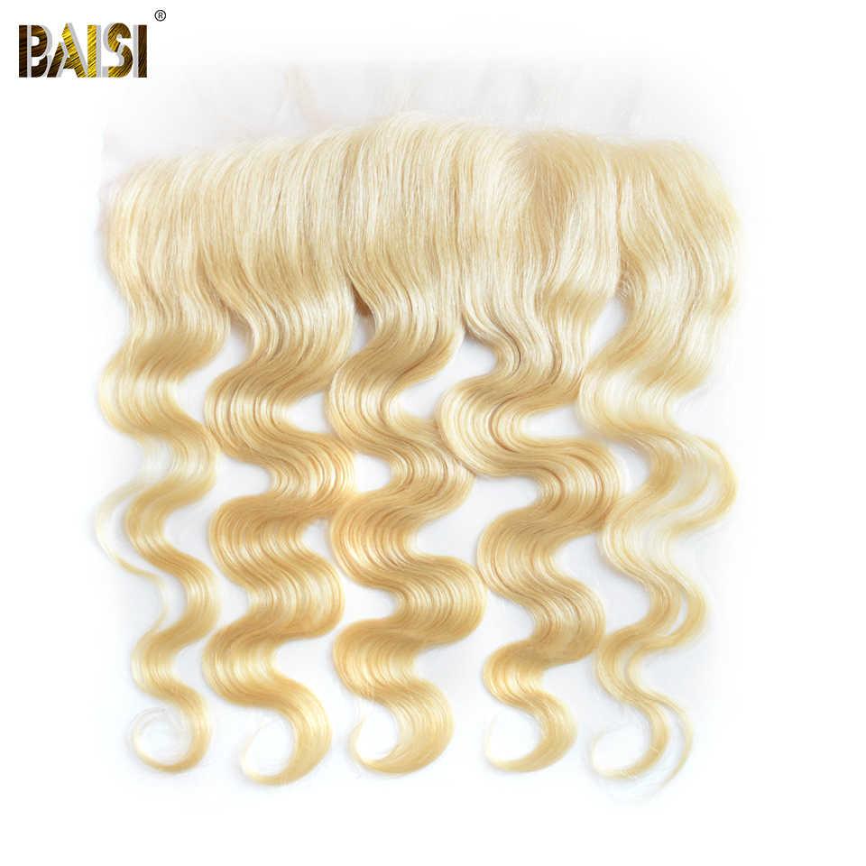 BAISI бразильские волнистые светлые волосы 613 # цвет Remy человеческие волосы Кружева Фронтальная предварительно сорванная природа Hairline Бесплатная доставка