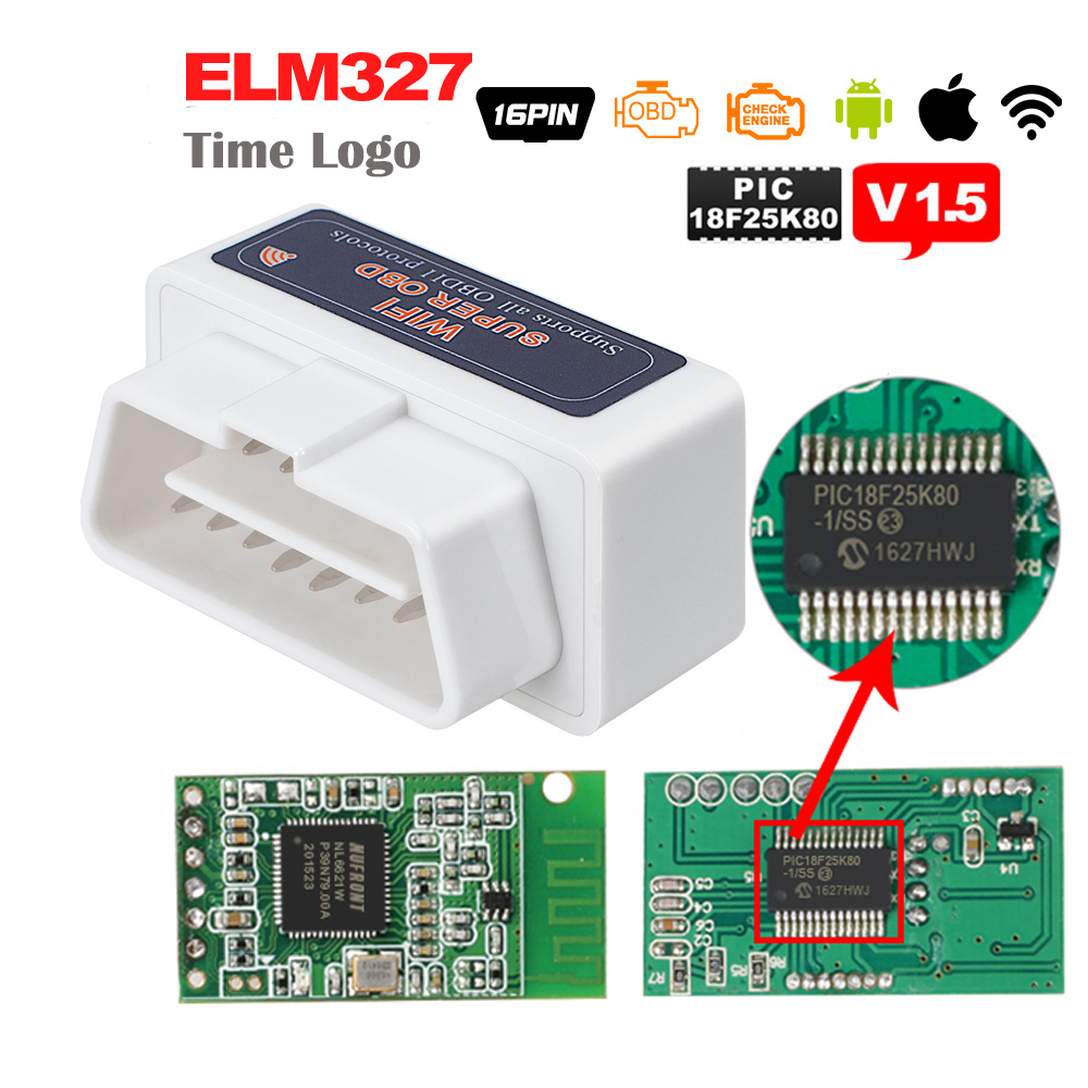 Super OBD <font><b>ELM327</b></font> WIFI V1.5 OBDII OBD2 Auto Diagnostic Tool With PIC18F25K80 chip ELM 327 <font><b>WI</b></font>-<font><b>FI</b></font> V <font><b>1.5</b></font> Scanner For iOS Android PC image