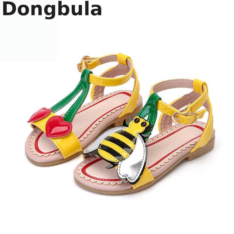 New Summer Girl Sandals For Children's Casual Leather Sandals Cartoon Bees Lovely Cherry Kids Shoes Little Baby Beach Slippers