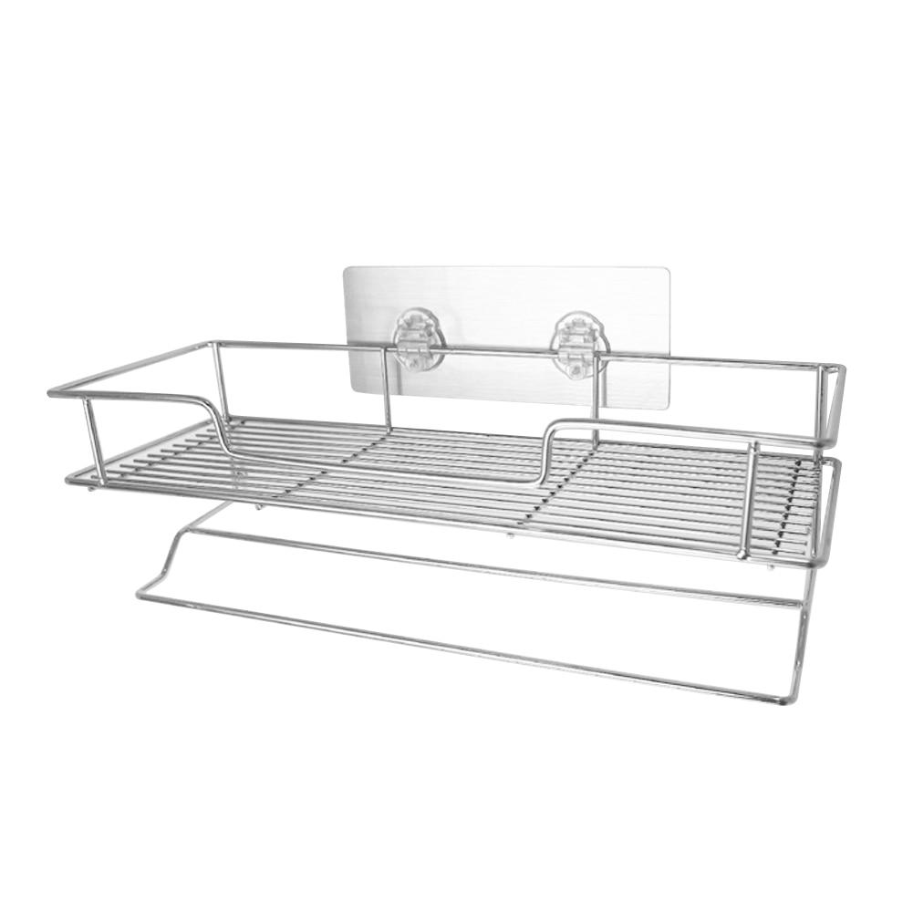 wall mount stainless steel 2 layers storage basket shower room bathroom towel rack soap dish shampoo