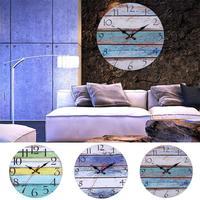 목가적 인 줄무늬 라운드 벽시계 거실 침실 사무실 바 장식 매달려