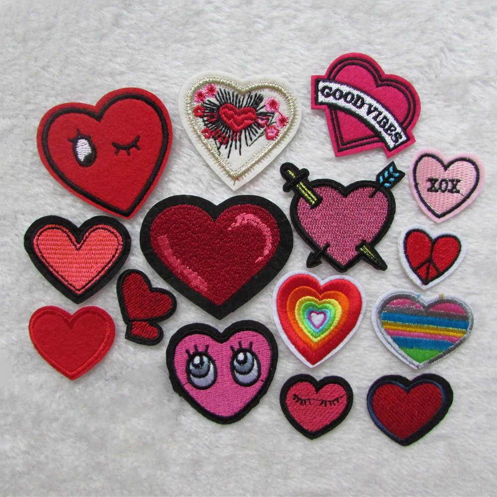 high quality heart cartoon For Clothing Iron On Embroidered Appliques DIY Apparel Accessories Patch For Clothing Fabric Badges