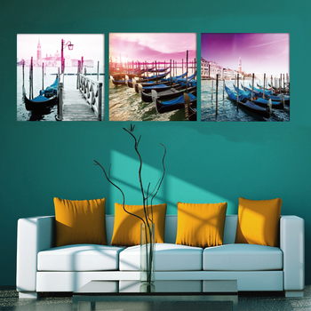 Free shipping 3 Pieces no frame Wall decoration Canvas Prints canoe Wooden boat wharf Abstract tree Lady walk a dog Bamboo fish no frame canvas