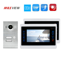 Free Shipping 2 Apartment 720P 1.0MP HD 7 Screen Video Intercom Door Phone Motion Detection Record System+ Door Camera 2 Family
