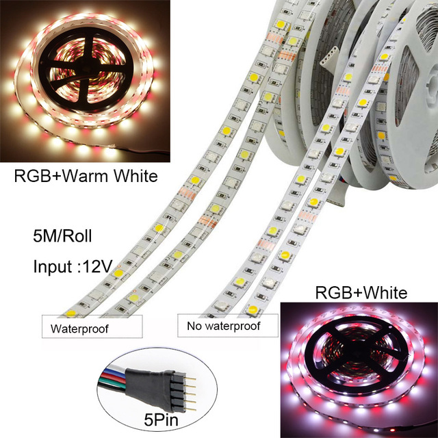 BEKCMTH 5m 10m 15m WiFi LED Strip Light RGB Waterproof SMD 5050 RGBW/RGBWW LED Strip Tape DC 12V+ Remote Control + Adapter EU 5