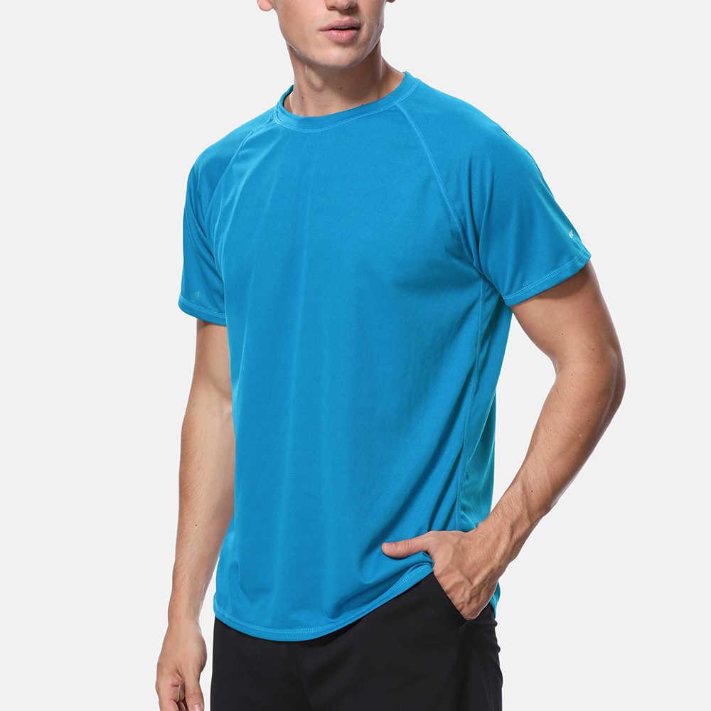 Camisas Anfilia para hombre, de ajuste seco, sueltas, con protección contra sarpullido, camisa de conducción, con protección UV, 50 + ropa de playa superior para montar