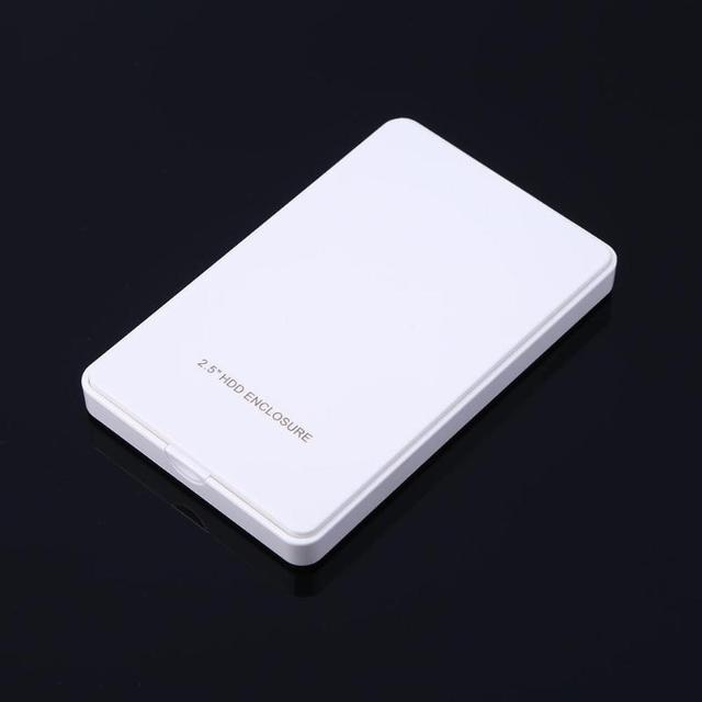 2.5in IDE Hard Disk Drive Enclosure USB 2.0 External HDD Case Box White for Win7/Win8/Win10 and for Mac OS 2